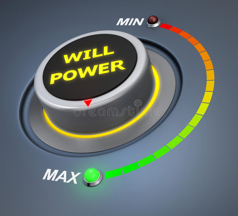 Will power. Button position. Concept image for illustration of  in the maximum position , 3d rendering vector illustration