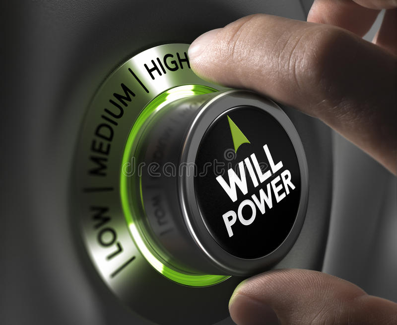 Will Power Concept. Fingers turning a willpower button and setting it on the highest position, green tones. Illustration of determination or motivation concept vector illustration