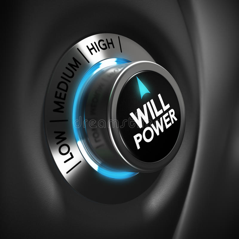 Will Power Volition Concept. Will power selector button with blue and grey tones. Conceptual 3D render image with depth of field blur effect. Concept suitable stock illustration