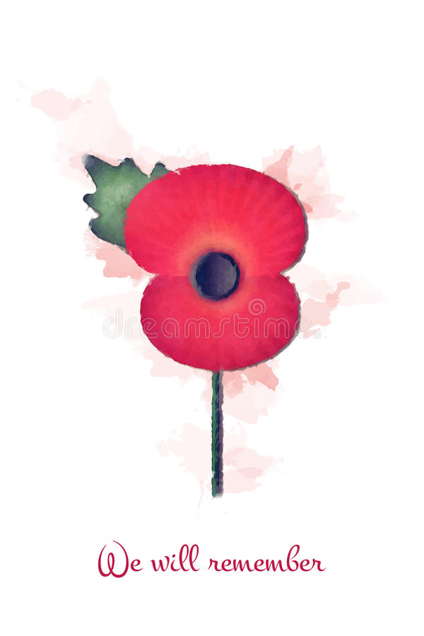 We will remember. Faded watercolour remembrance poppy, with the slogan: we will remember. EPS10 vector format royalty free illustration