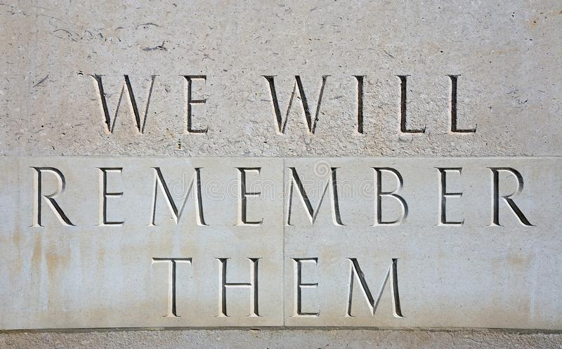 We Will Remember Them Inscription at the National Memorial Arboretum, Alrewas. royalty free stock photos