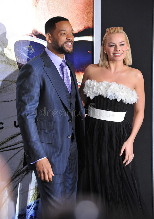 Will Smith & Margot Robbie. LOS ANGELES, CA - FEBRUARY 24, 2015: Will Smith & Margot Robbie at the Los Angeles premiere of their movie Focus at the TCL Chinese stock photo
