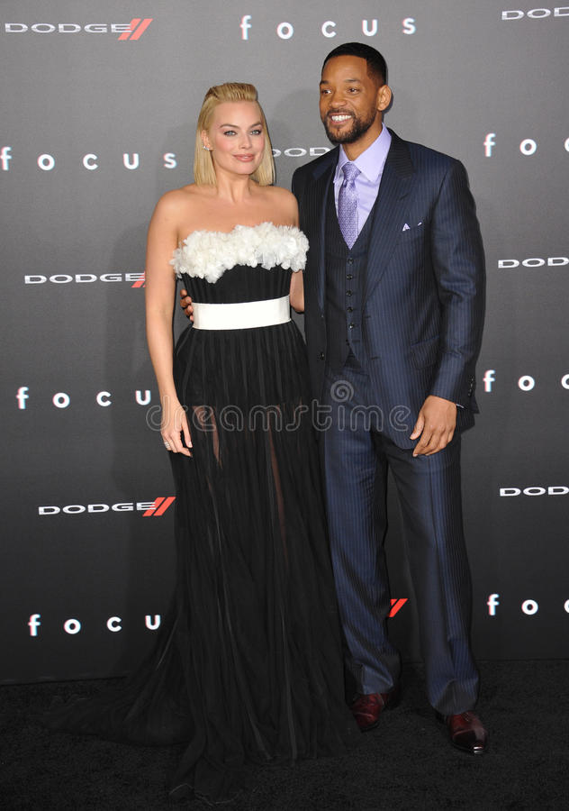 Will Smith & Margot Robbie. LOS ANGELES, CA - FEBRUARY 24, 2015: Will Smith & Margot Robbie at the Los Angeles premiere of their movie Focus at the TCL Chinese stock photos