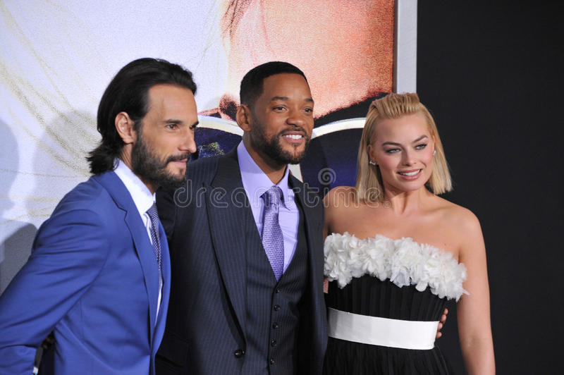 Will Smith, Margot Robbie & Rodrigo Santoro fotografia royalty free