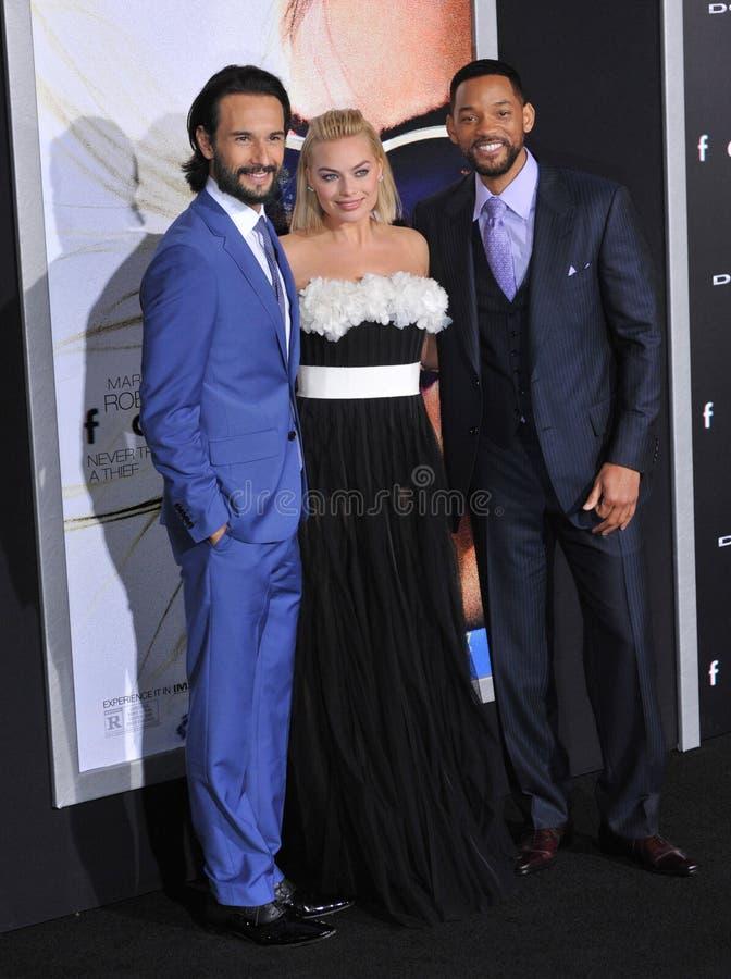 Will Smith u. Margot Robbie u. Rodrigo Santoro stockbilder