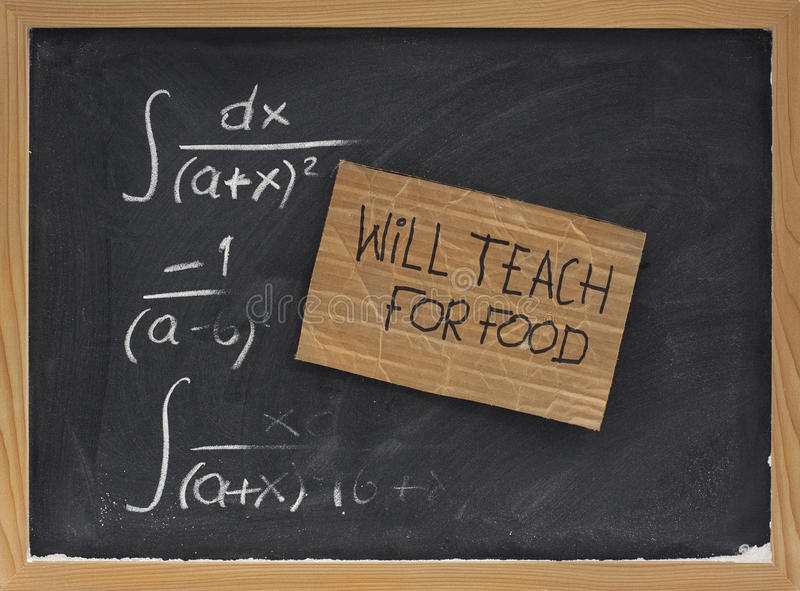Download Will Teach For Food - Cardboard Sign On Blackboard Stock Photos - Image: 9543383