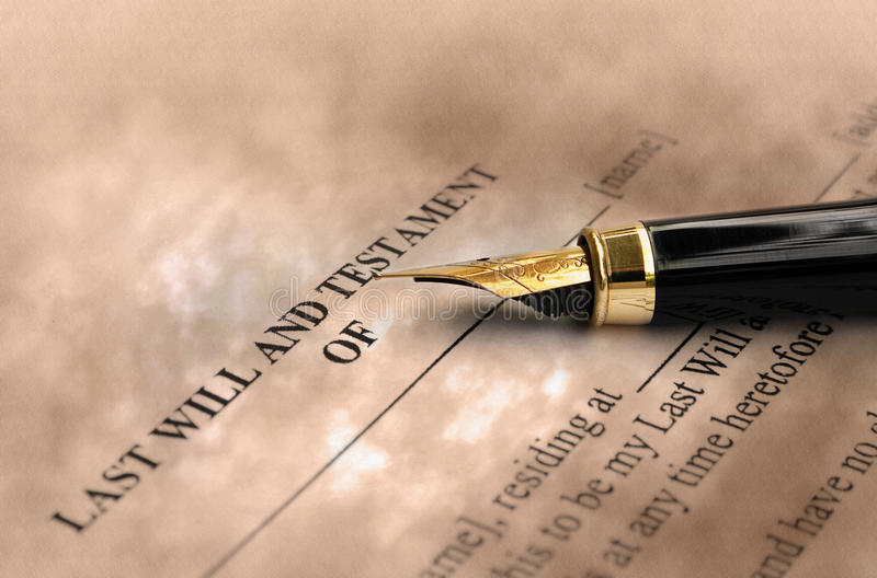Will and testament. Fountain pen on last will and testament stock photography