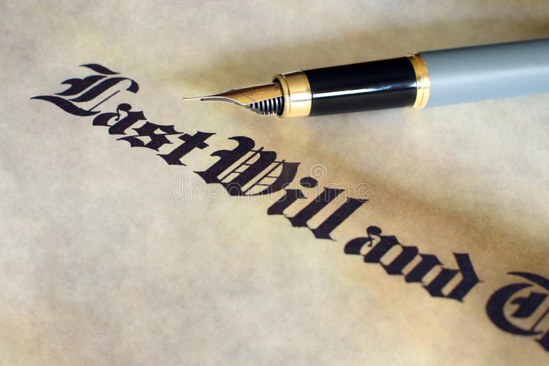 Will and testament. Fountain pen on last will and testament royalty free stock photo