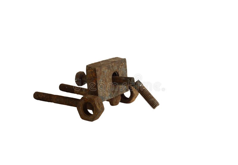 When will the world and give cannons in a museum. Cannon assembled from rusted bolts and nuts. Isolation on a white background without shadows stock photo