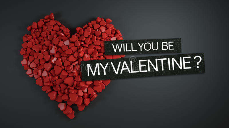 Will You Be My Valentine ? 3D Rendering. Design royalty free illustration