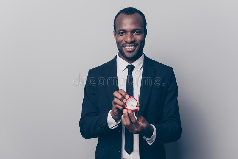 Will you be my woman wife? Portrait of happy smiling excited rom stock photography