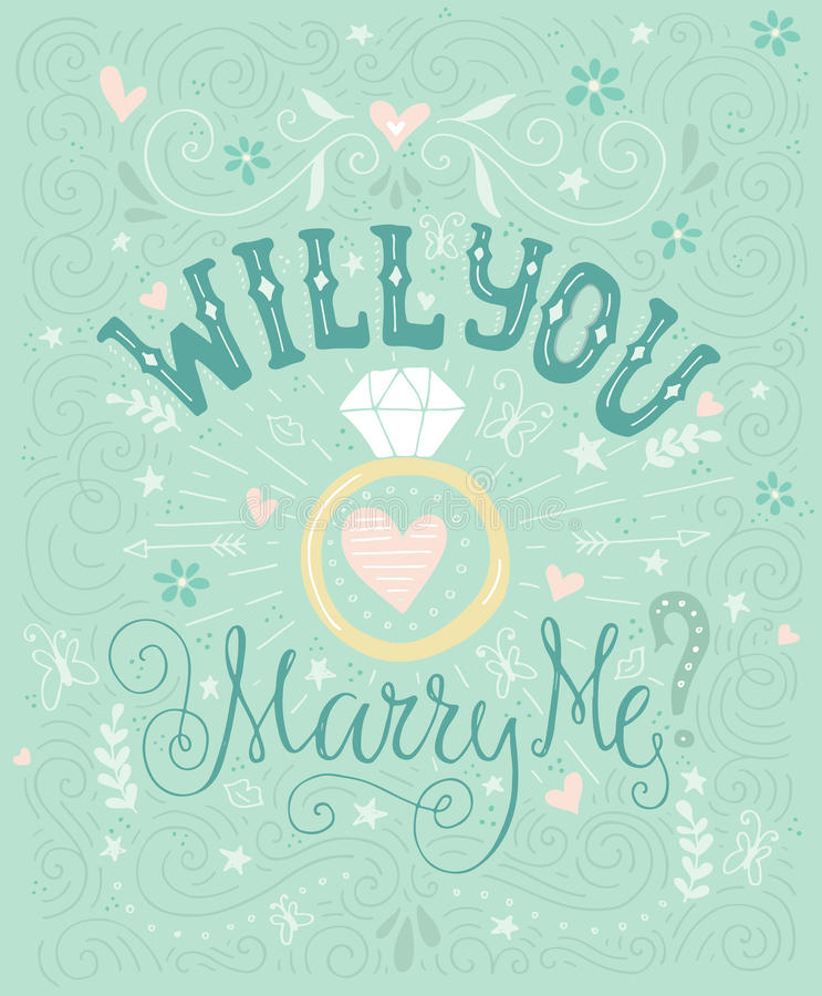 Will You Marry Me Stock Vector Illustration Of Drawn 63094552