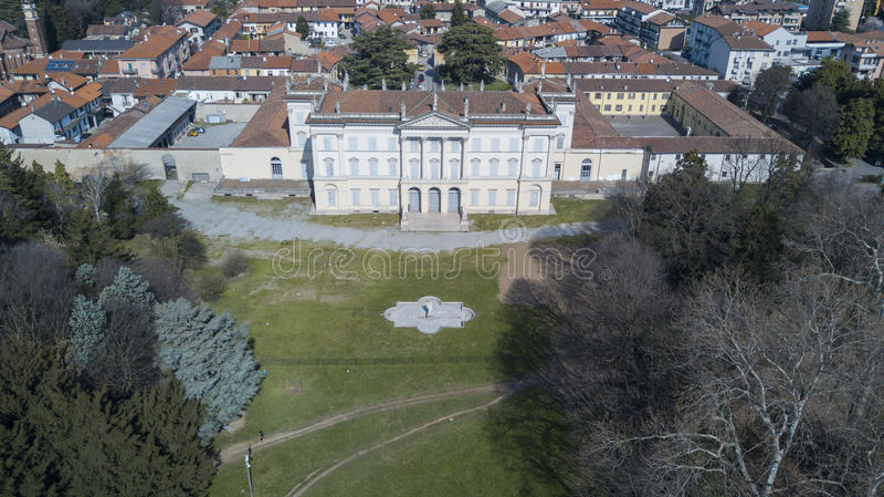 Willa Cusani Tittoni Traversi, panoramiczny widok, widok z lotu ptaka, Desio, Monza i Brianza, Włochy obrazy stock