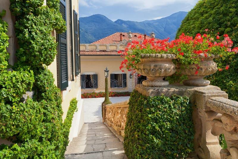 Willa Del Balbianello na Jeziornym Como, Lenno, Lombardia, Włochy zdjęcie stock