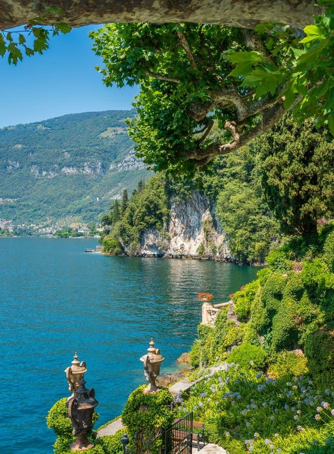 Willa Del Balbianello, sławna willa w comune Lenno, przegapia Jeziornego Como italy Lombardy fotografia stock