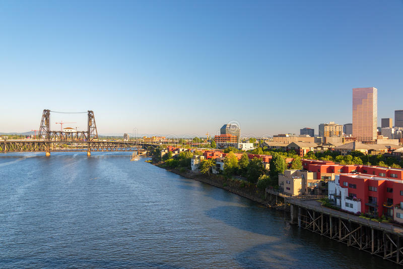 Willamette River View. View of Portland, Oregon and the Willamette River with the Steel Bridge and downtown visible stock photo