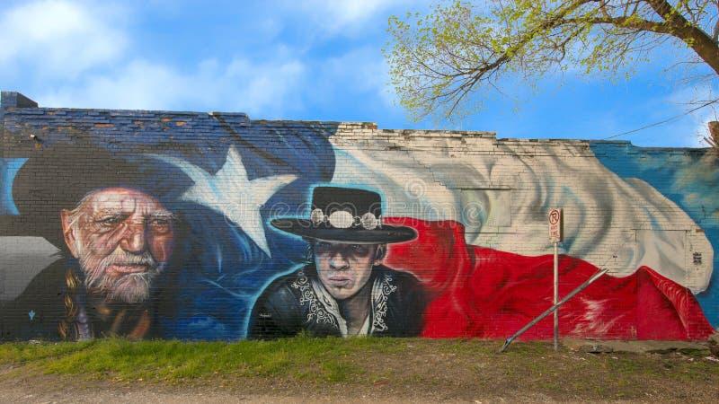 Wille Nelson και τοιχογραφία της Stevie Ray Vaughn, περιοχή τεχνών επισκόπων, Ντάλλας, Τέξας στοκ φωτογραφία