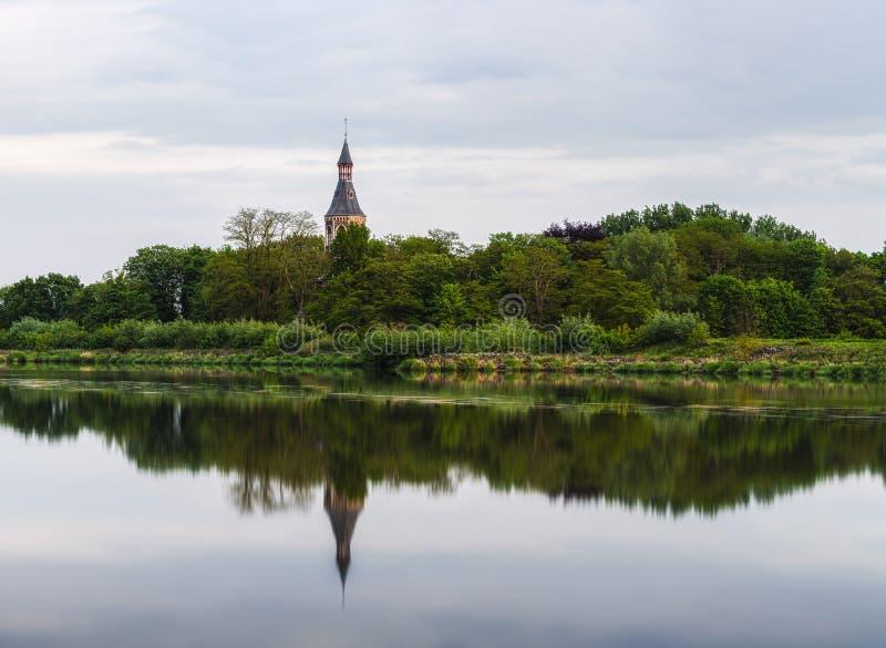 Willebroek, Belgium: The 18th century Castle De Bocht, reflected in the river Rupel. Castle De Bocht, reflected in the river Rupel stock photo