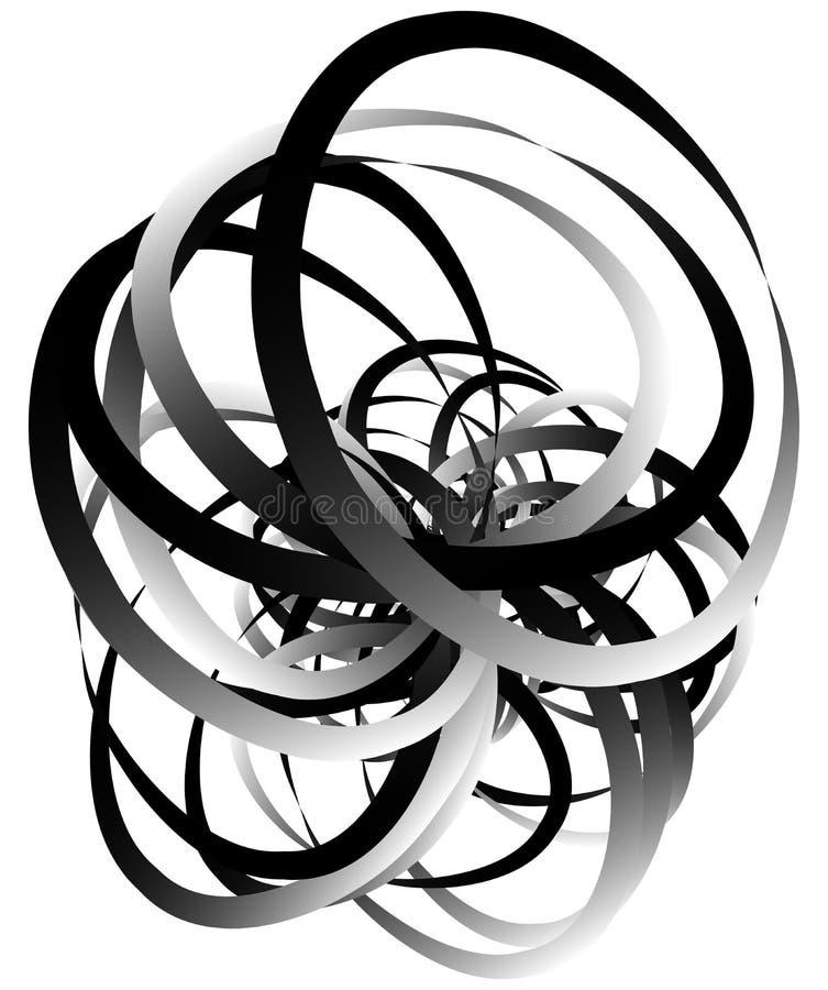 Willekeurig squiggly, vatten de curvy lijnen, zwart-wit illustratie samen vector illustratie