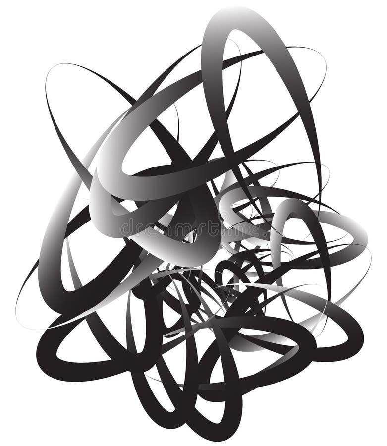 Willekeurig squiggly, vatten de curvy lijnen, zwart-wit illustratie samen stock illustratie