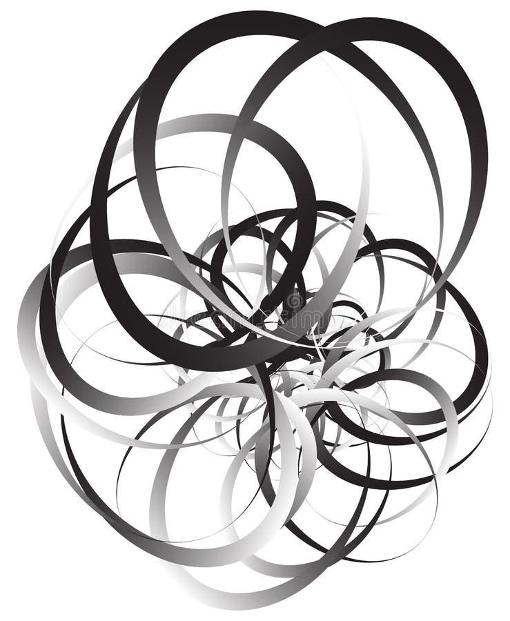 Willekeurig squiggly, vatten de curvy lijnen, zwart-wit illustratie samen royalty-vrije illustratie