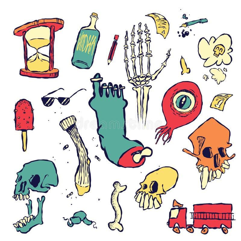 Willekeurige Krabbels en Tekeningen van Voorwerpen en Schepselen vector illustratie