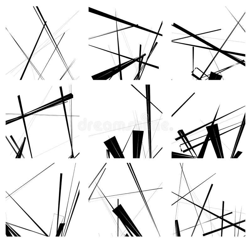 Willekeurige lijnen artistieke element/patroonreeks Niet figural monochr royalty-vrije illustratie