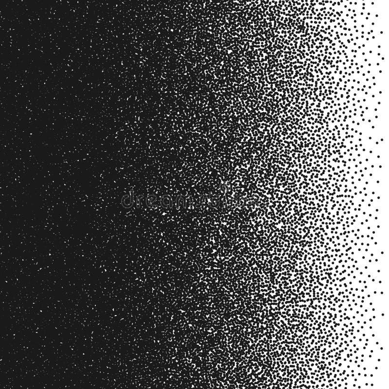Willekeurige punten Vector illustratie Abstract gradiëntelement Pointillismepatroon Zwart-wit halftone textuur royalty-vrije illustratie
