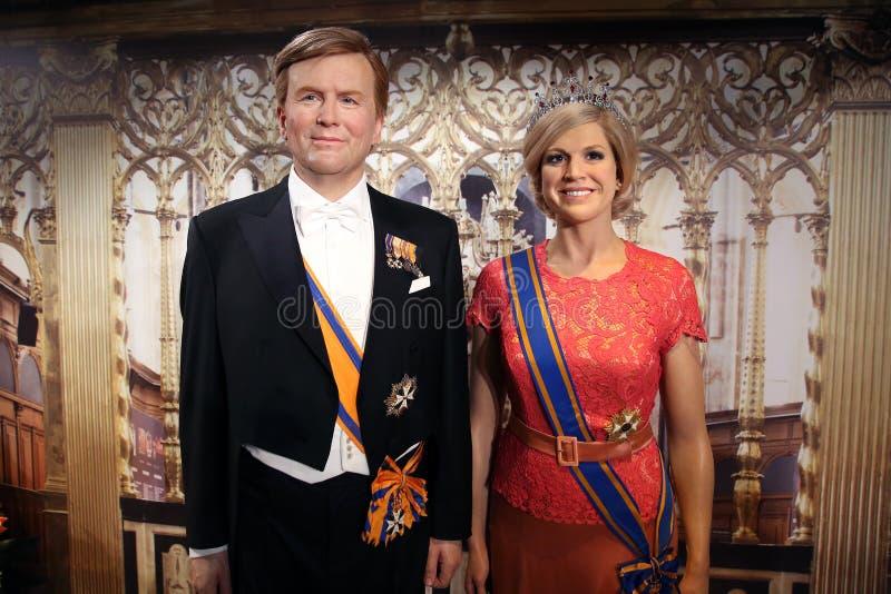 Willem-Alexander, König der Niederlande und seine Frau Königin-Maxima wachsen Statuen ein lizenzfreie stockbilder