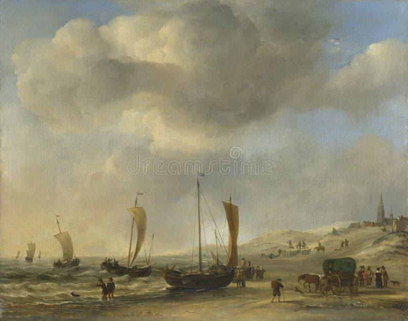 Willem van de Velde - la riva a Scheveningen immagini stock libere da diritti