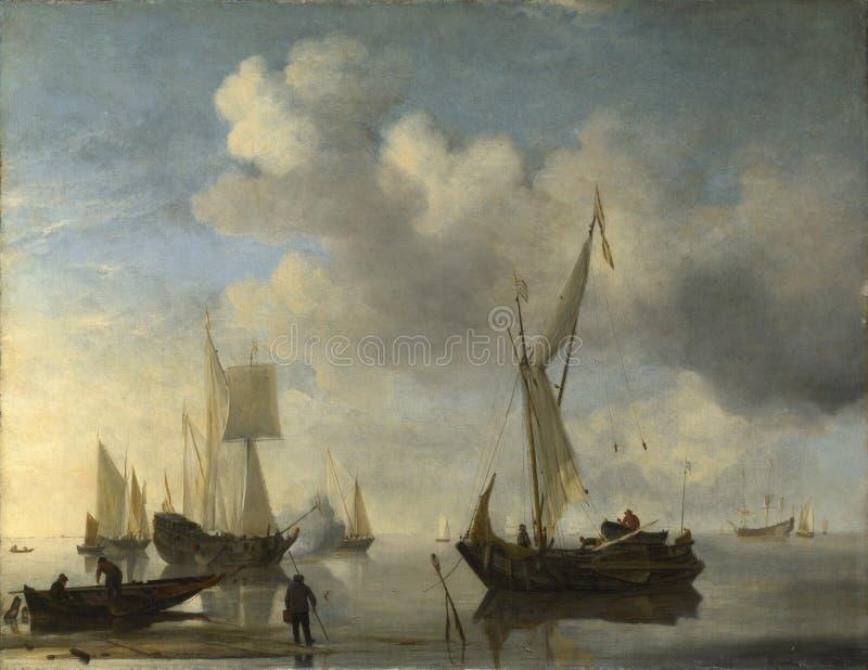 Willem van de Velde - navi olandesi che si trovano a riva in una calma, una che saluta immagini stock libere da diritti