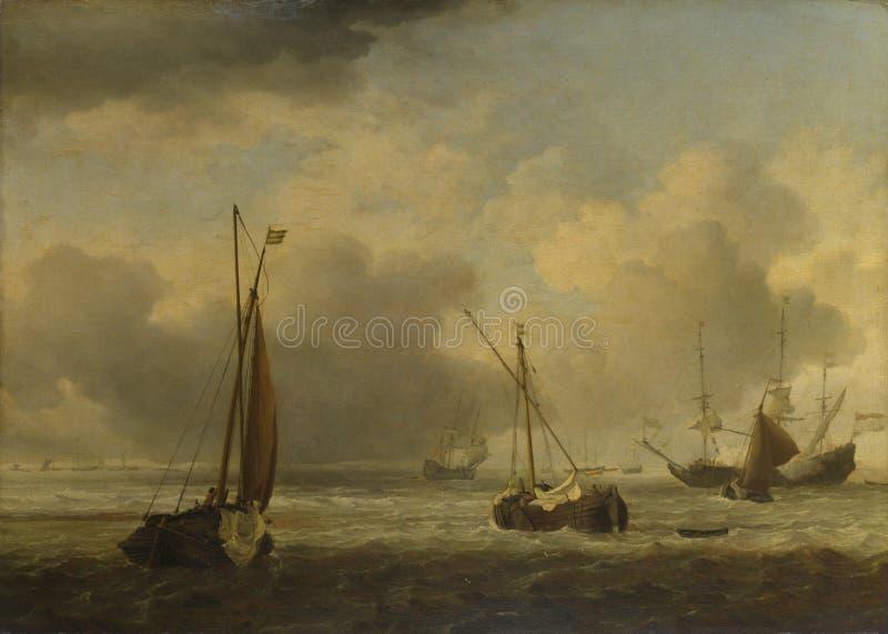 Willem van de Velde - navi olandesi e piccole navi al largo in una brezza fotografia stock