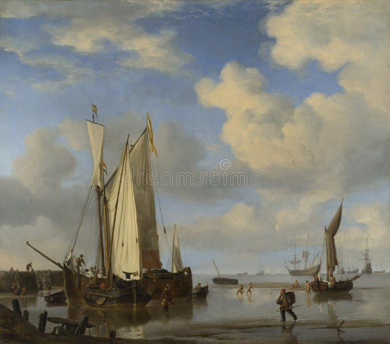 Willem van de Velde - navi olandesi a riva ed uomini che bagnano fotografie stock libere da diritti
