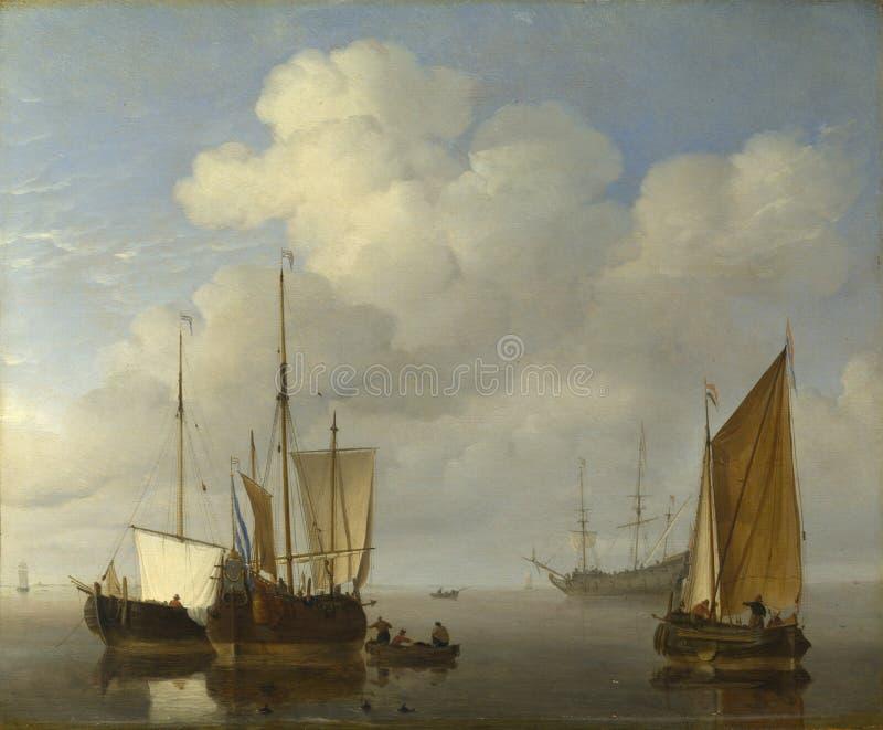 Willem van de Velde - navi olandesi in una calma fotografia stock