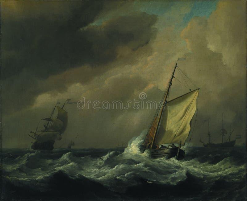 Willem van de Velde - un petit navire néerlandais fin-transporté dans une brise forte photographie stock