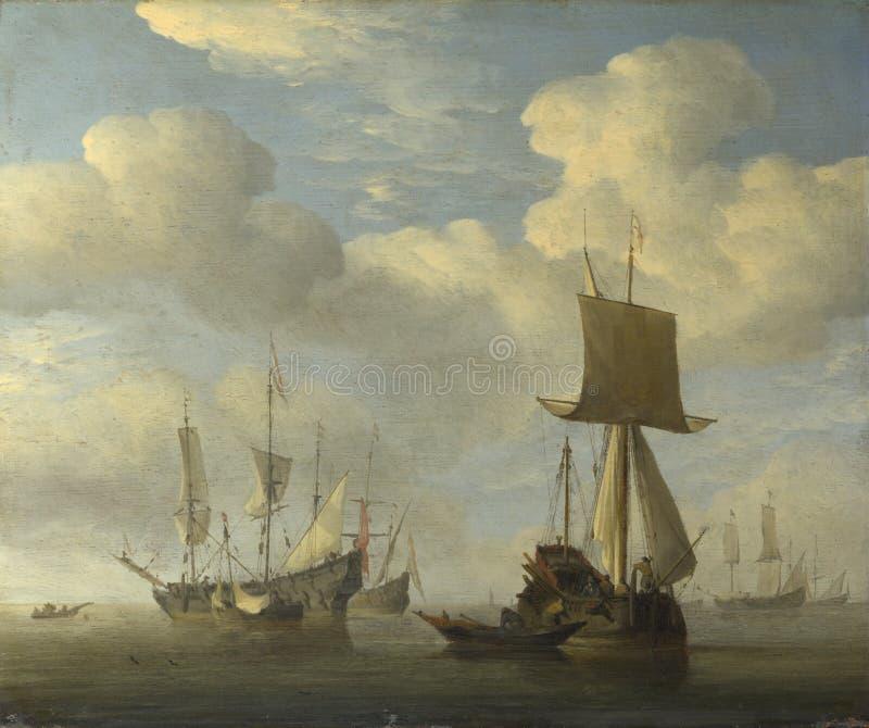 Willem van de Velde - una nave inglese e una bonaccia olandese delle navi immagine stock libera da diritti