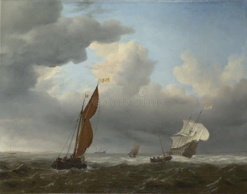 Willem van de Velde - una nave olandese ed altre piccole navi in un vento forte fotografia stock