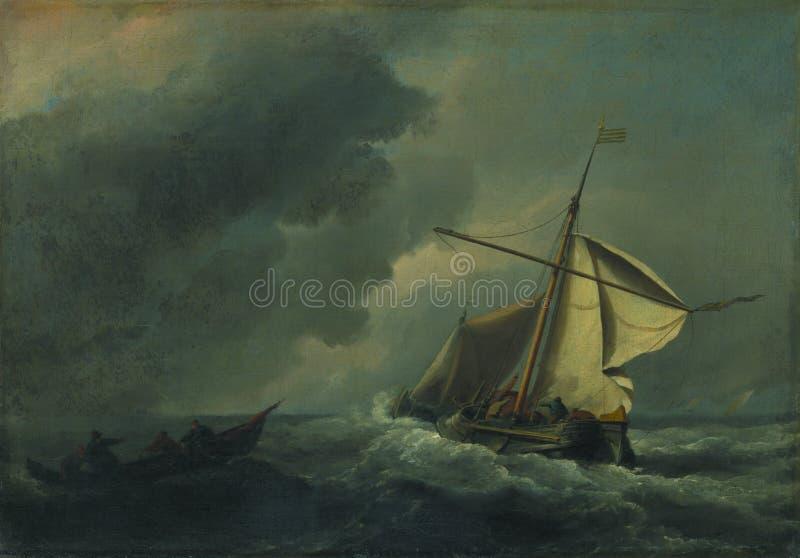 Willem van de Velde - una nave olandese in un vento forte fotografia stock
