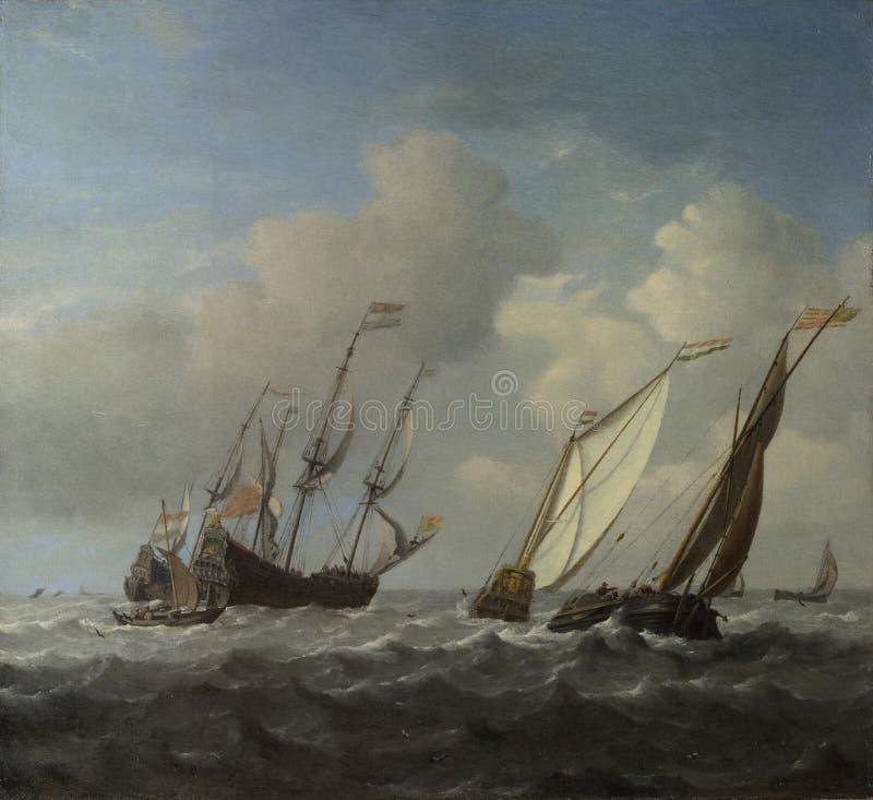 Willem van de Velde - una nave olandese, un yacht e più piccole navi in una brezza fotografia stock libera da diritti