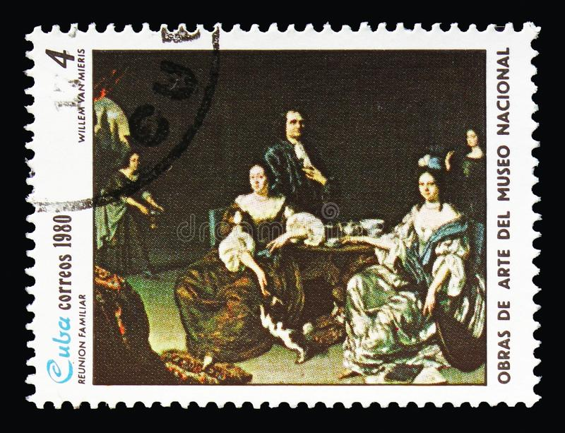 Willem van Mieris, `Family meeting`, Paintings from the National Museum. MOSCOW, RUSSIA - AUGUST 18, 2018: A stamp printed in Cuba shows Willem van Mieris, ` royalty free stock photos