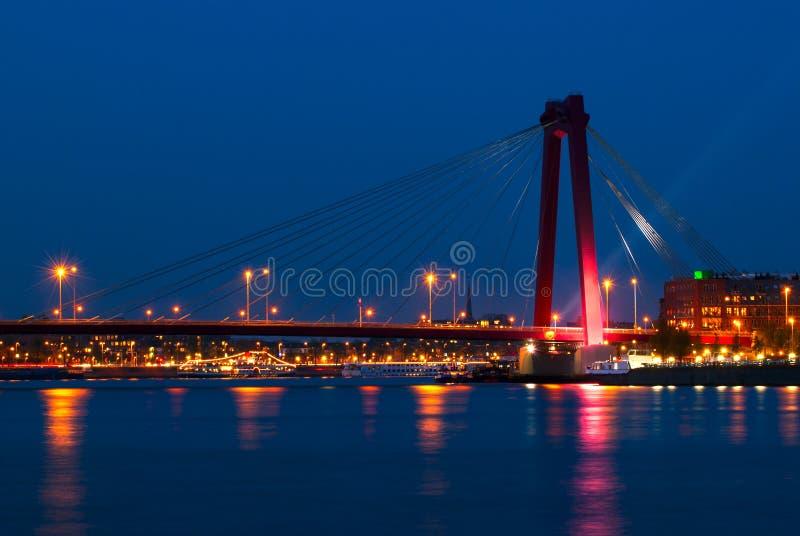 Willemsbrug桥梁在鹿特丹,荷兰 免版税库存照片