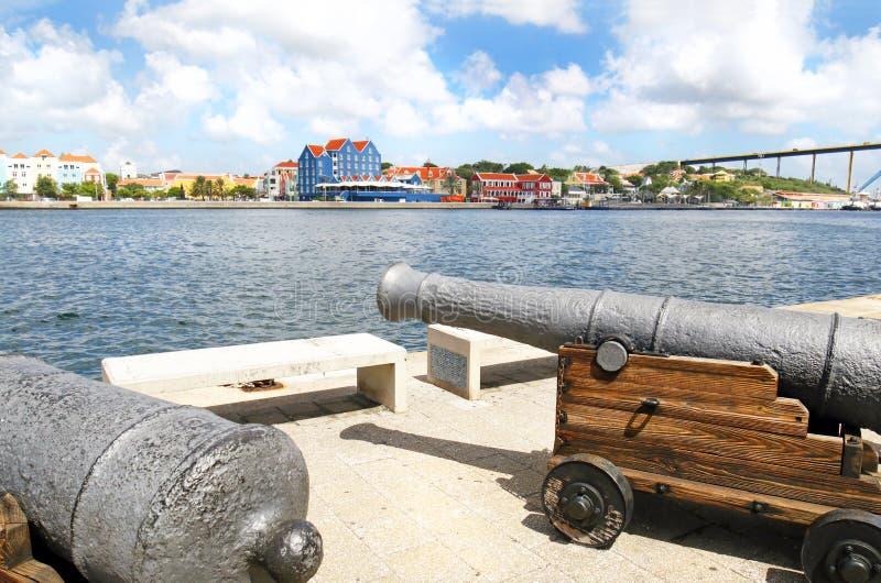 Willemstad,库拉索岛 荷兰语安的列斯 吸引从世界的五颜六色的大厦游人 免版税库存图片