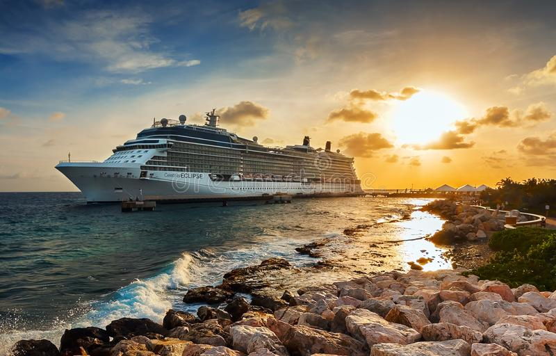 Cruise Ship in port on sunset stock photos