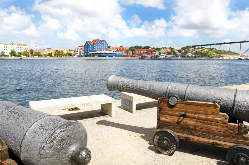 Willemstad, Curacao. Dutch Antilles. Colourful Buildings attracting tourists from all over the world. Blue sky sunny day royalty free stock images