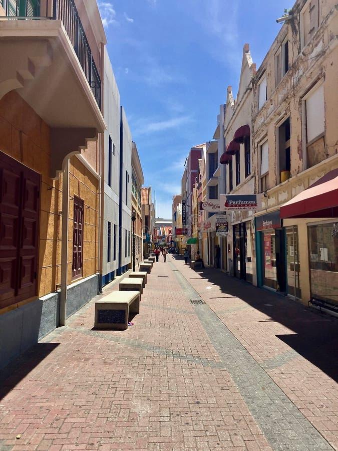 Willemstad, Curacao - Kleurrijke Waterkant stock afbeelding