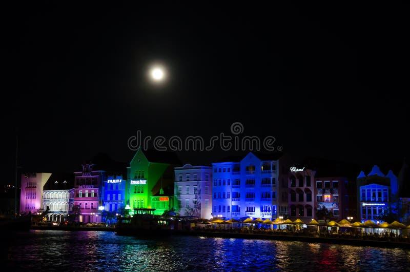 Willemstad przy nocą w wyspie Curacao zdjęcia royalty free