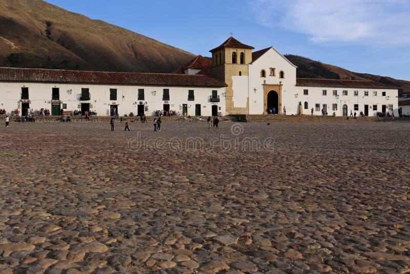 Willi De Leyva główny plac, kwadrat w Willi De Leyva, Kolumbia - Sept 2015 obraz stock