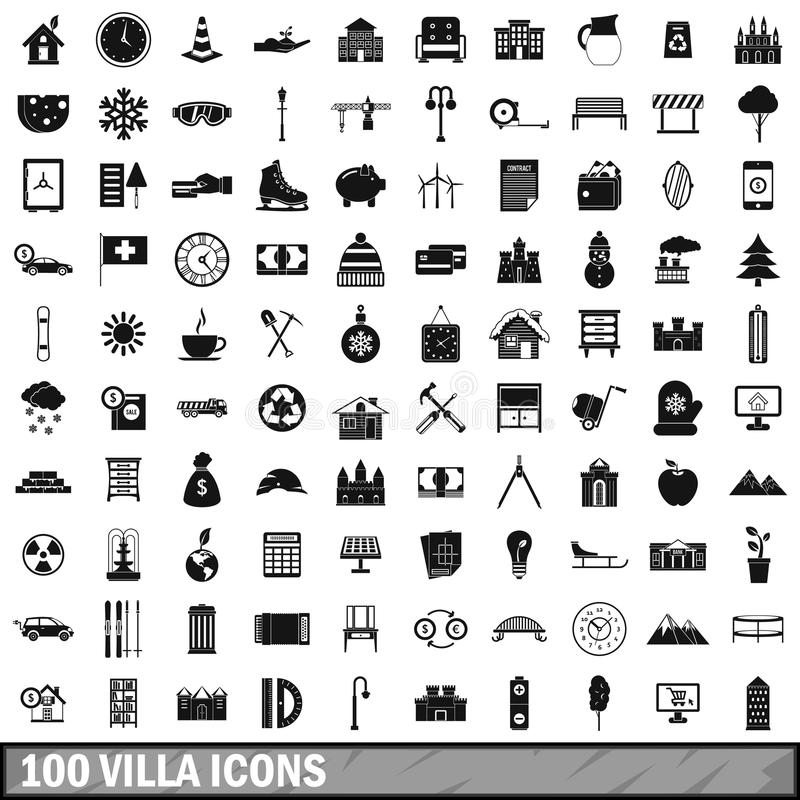 100 willi ikon ustawiających, prosty styl ilustracja wektor