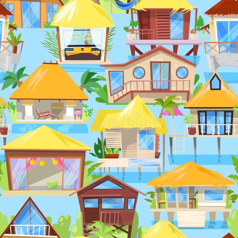 Willi wektorowa fasada domowy budynek i tropikalny hotel w kurorcie na oceanie wyrzucać na brzeg w raju ilustracyjnym ustawiający ilustracja wektor