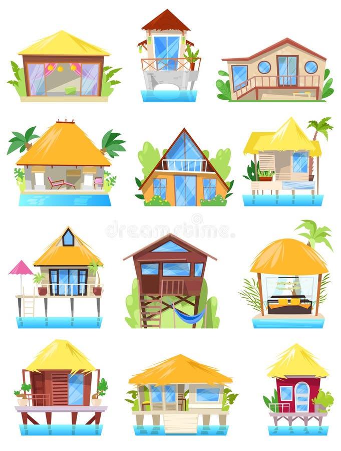 Willi wektorowy tropikalny hotel w kurorcie na ocean plaży lub fasadzie domowy budynek w raju ilustracyjnym ustawiającym bungalow ilustracji